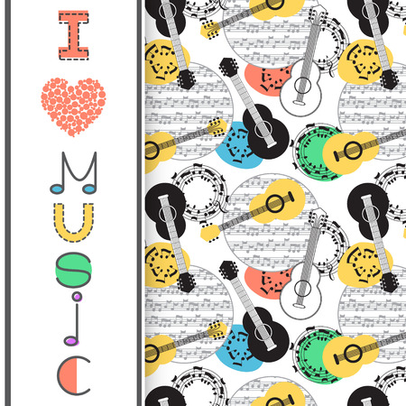 Music background, poster template, greeting card, invitation design background. Guitars, nots and musical symbols on white background. I love music card. Vector illustration.