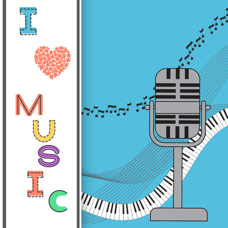 Music background, poster template, greeting card, invitation design background. Microphone, nots and musical symbols on white background. I love music card. Vector illustration. Illustration