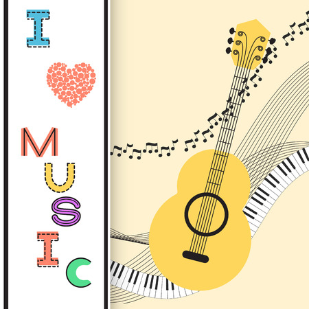 Music background, poster template, greeting card, invitation design background. Guitar, nots and musical symbols on white background. I love music card. Vector illustration.