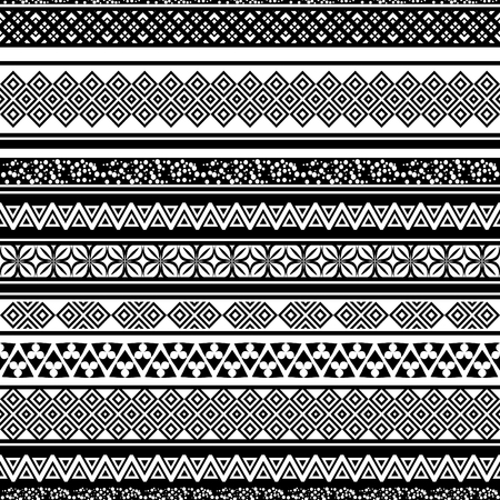 textil: Tribal seamless pattern. Abstract background with ethnic ornament. Seamless background with different geometric shapes. Black and white. Vector illustration Illustration