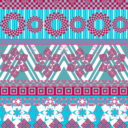 textil: Tribal seamless pattern. Abstract background with ethnic ornament. Seamless background with different geometric shapes. Vector illustration