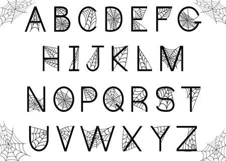 Set of letters with spider web. Halloween alphabet. Vector font. Isolated on white background. Ilustração