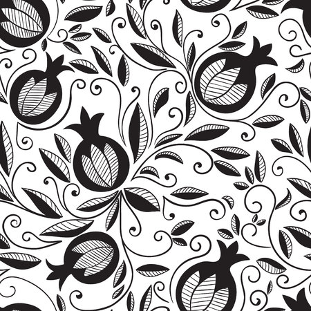 textil: Pomegranate seamless pattern. Floral vector reapet background. Floral pattern with decorative pomegranate fruits and leaves. Isolated on white background. Illustration