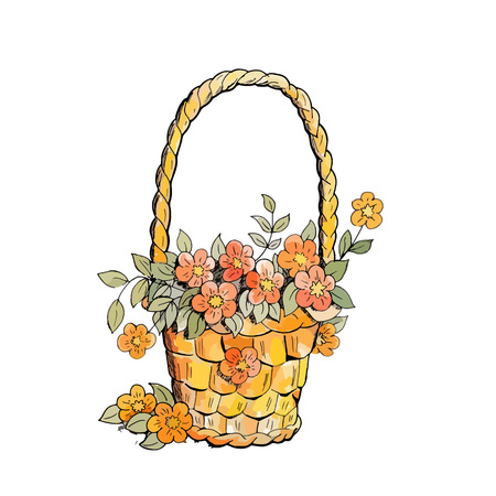 Basket with red flowers. Watercolor style. design elements. Isolated on white background.