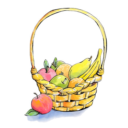 Wicker fruit basket: apple, banana, pear, orange. Hand drawn, pear, vector, design elements. Isolated on white background. Vector illustration.