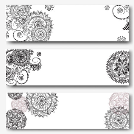 Vintage banners templates in indian ornamental style. Ornamental mandala. Indian, arabic ornaments. Banner, business card, flyer, invitation, greeting card, postcard. Vector illustration Illustration