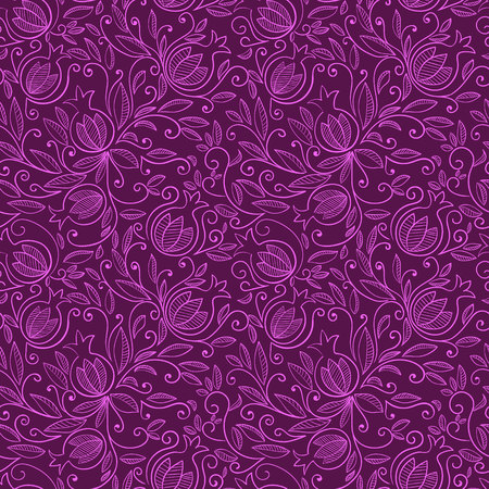 rosh hashanah: Seamless pattern with pomegranate, Rosh Hashanah symbol. Floral pattern with decorative pomegranate fruits and leaves. Vector illustration Illustration