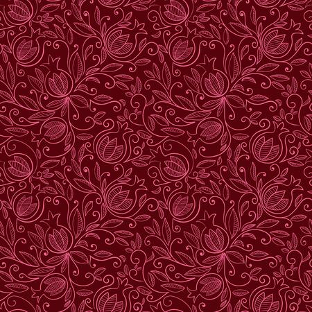 Pomegranate seamless pattern. Floral background vecteur reapet. motif floral avec des fruits et des feuilles de grenade décoratives. Vector illustration