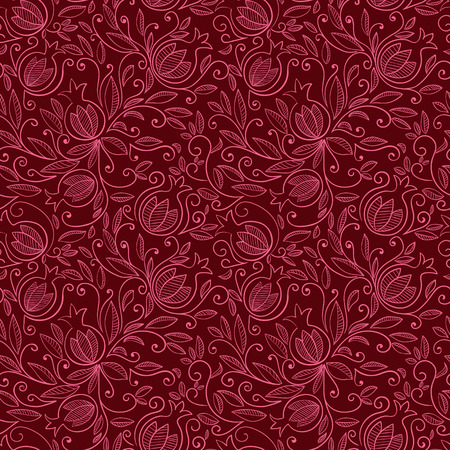 textil: Pomegranate seamless pattern. Floral vector reapet background. Floral pattern with decorative pomegranate fruits and leaves. Vector illustration Illustration
