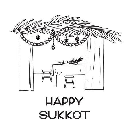 succot: Sukkah with table, food and Sukkot symbols. Happy Sukkot in Hebrew. Vector illustration