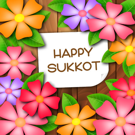 Sukkot greeting card with colorful flowers. Happy Sukkot. Vector illustration