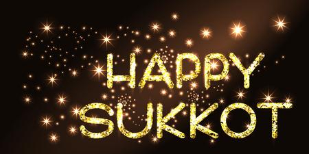 sukkah: Sukkot greeting card. Happy Sukkot . Golden letters on black background. Vector illustration