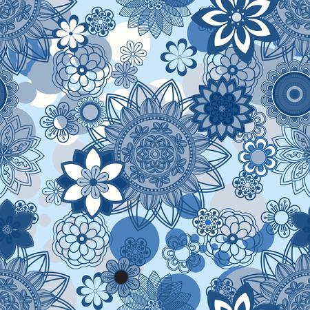 motifs: Mandala pattern, floral elements, decorative ornament. Seamless pattern background.  Arab, Asian, ottoman motifs. Vector illustration