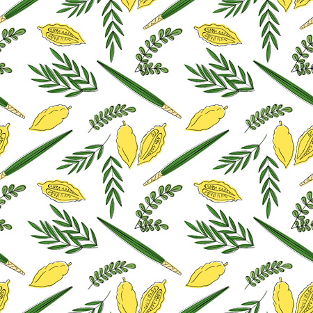 arava: Sukkot seamless pattern background. Etrog, lulav hadas and arava. Vector illustration. Isolated on white background.