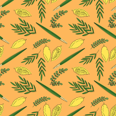 etrog: Sukkot seamless pattern background with palm branch, willow and myrtle leaves, yellow etrog. Vector illustration.