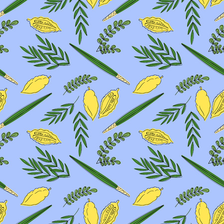sukkoth festival: Sukkot seamless pattern background with palm branch, willow and myrtle leaves, yellow etrog. Vector illustration.