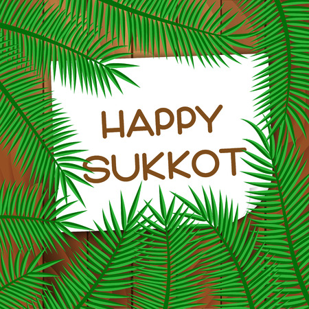 Sukkot festival greeting card. Happy Sukkot text. Vector illustration.
