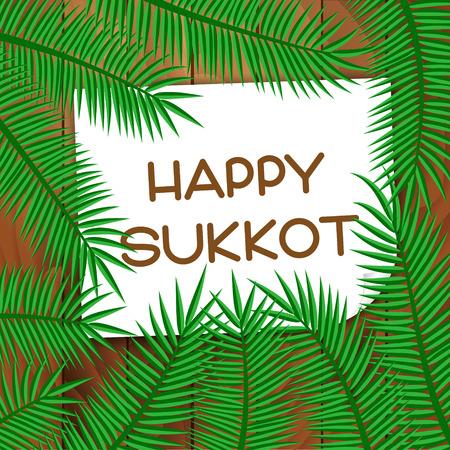 sukkah: Sukkot festival greeting card. Happy Sukkot text. Vector illustration.