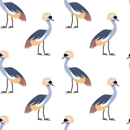 crowned crane: Crowned crane. African bird. Tropical bird. Seamless pattern background. Vector illustration.