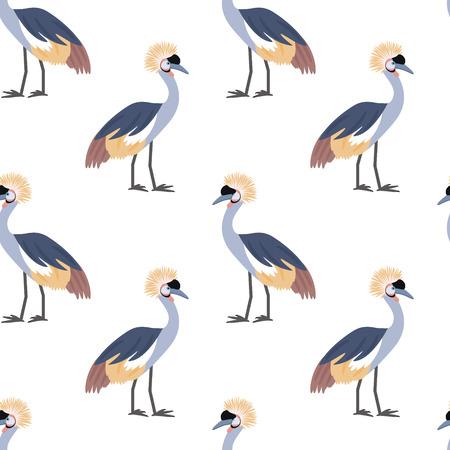 Gekroond kraan. Afrikaanse vogel. Tropische vogel. Naadloze patroon achtergrond. Vector illustratie.