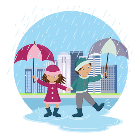 walk in: Children with umbrellas in the rain. Children on walk. Vector illustration