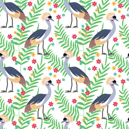 topknot: Crowned crane. African bird. Tropical bird. Seamless pattern background. Vector illustration.