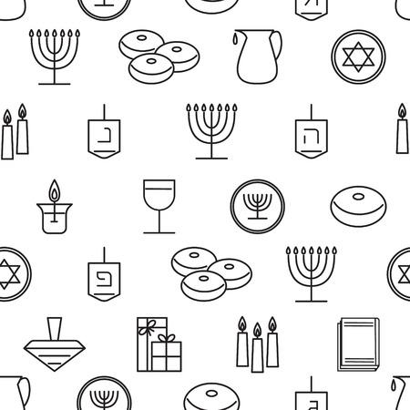 chanukkah: Hanukkah seamless pattern. Jewish Holiday Hanukkah symbol. Menorah (candlestick), candles, donuts (sufganiyan), gifts, dreidel, coins, oil. Happy Hannukah in Hebrew. Vector illustration