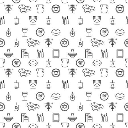 hanukka: Hanukkah seamless pattern. Jewish Holiday Hanukkah symbol. Menorah (candlestick), candles, donuts (sufganiyan), gifts, dreidel, coins, oil. Happy Hannukah in Hebrew. Vector illustration