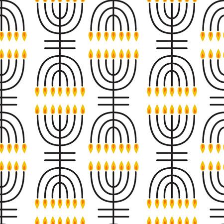 hanukka: Hanukkah seamless pattern. Hanukkah symbols. Hanukkah candles, menorah, sufganiot and dreide. Vector illustration for jewish holiday Hanukkah.