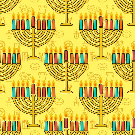 Hanukkah seamless pattern. Jewish Holiday Hanukkah symbol. Menorah (candlestick), candles, donuts (sufganiyan), gifts, dreidel, coins, oil. Happy Hannukah in Hebrew. Vector illustration