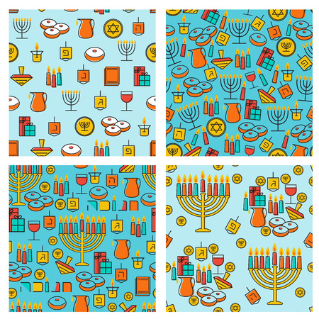 chanukkah: Hanukkah seamless pattern collection. Hanukkah simbols. Hanukkah candles, menorah, sufganiot and dreidel. Vector illustration for jewish holiday Hanukkah.