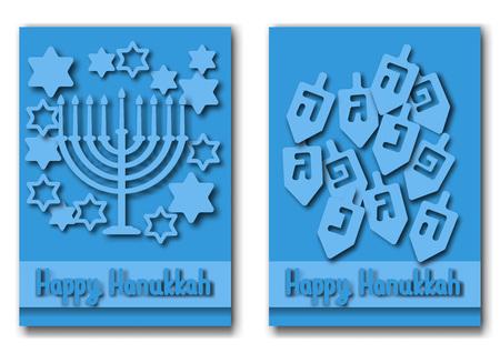 Hanukkah greeting card hanukkah menorah candles dreidel with happy hanukkah greeting cards design vector illustration for jewish holiday hanukkah vector m4hsunfo