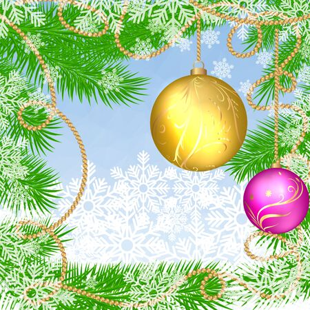 Christmas blue polygonal background with fir tree, snowflakes and glass Christmas balls. Vector illustration with place for text. Winter Holiday xmas and Happy New Year background.