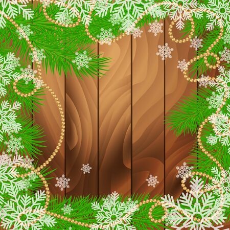 Fir tree branches with decorations, garland and snowflakes. Winter holidays wooden background. Vector realistic illustration. Illustration
