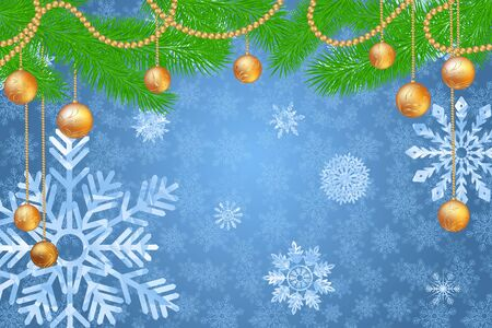 Fir tree branches with decorations, garland, balls and snowflakes. Winter holidays snowy background. Vector realistic illustration.