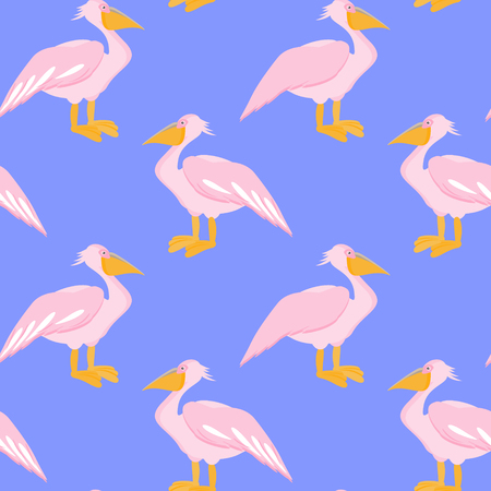 waterbird: Pelican seamless pattern. Pelican bird on blue background. Vector illustration