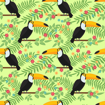 tucan: Tropical bird seamless pattern background. Toucan sitting on branch. Vector illustration.