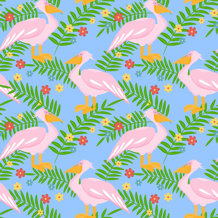 Pelican bird seamless pattern background. Vector illustration Illustration