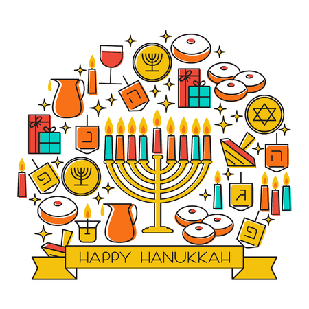 Hanukkah holiday background. Design elements set. Holiday symbols menorah candlestick , candles, donuts, gifts, dreidel. Greeting card template design. Happy Hanukkah. Vector illustration Ilustracja