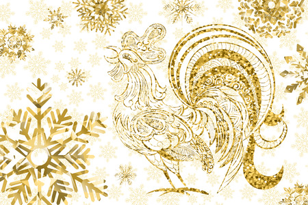 chinese symbol: New Year background. Rooster symbol of 2017 on the Chinese calendar. Golden rooster and snowflakes on white background. Vector illustration