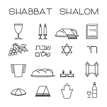 kiddush: Shabbat symbols set. Linear icons. Hebrew text Shabbat Shalom . Vector illustration. Isolated on white background