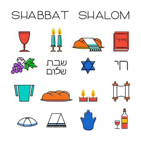 Shabbat symbols set. Linear icons. Hebrew text Shabbat Shalom . Vector illustration. Isolated on white background
