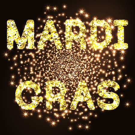 Mardi Gras or Shrove Tuesday golden glitter text on black background. Vector Illustration.