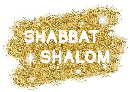 Shabbat shalome. White letters on golden background. illustration. Illustration