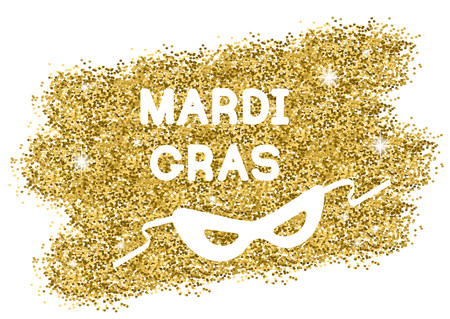 Mardi Gras or Shrove Tuesday background with carnival mask. White silhouettes on gold. Illustration.