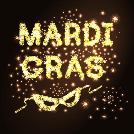 Mardi Gras or Shrove Tuesday with golden glitter carnival mask on black background. Illustration.