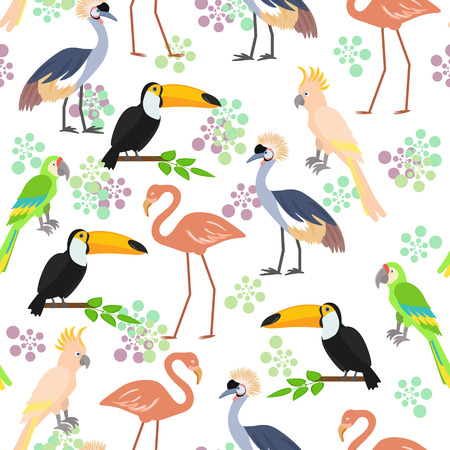 starling: Tropical birds seamless pattern background. illustration