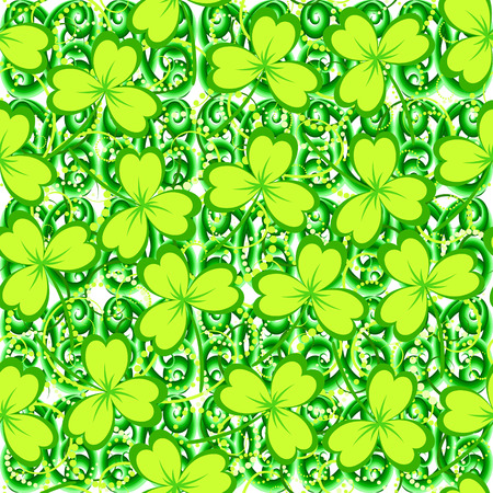 St. Patricks day background. Clover leaves on white background. Green color seamless pattern. Vector illustration.