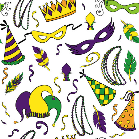 new orleans: Mardi Gras seamless pattern. Colorful background with carnival mask and hats, jester s hat, crowns, fleur de lis, feathers and ribbons. Vector illustration