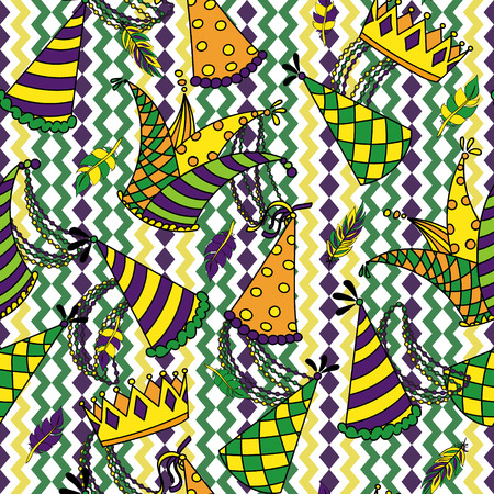 Mardi Gras seamless pattern. Colorful background with carnival hats and jesters hat, crowns, feathers, beads and ribbons. Vector illustration Illustration